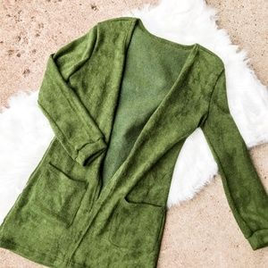 🛍 4/$25 SHEIN Forest Green Open Cardigan